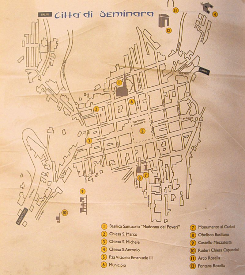 Seminara - Pianta della città